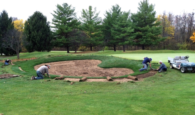 Laying Sod Left Green Side Bunker No. 15